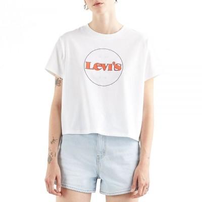 リーバイス Levi's レディース Tシャツ トップス graphic varsity short sleeve t-shirt New Circle Logo chest Hit White