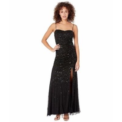 アドリアナ パペル ワンピース トップス レディース Beaded Tank Shirred Evening Gown Black