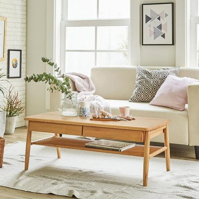家具 収納 テーブル 机 ローテーブル 座卓 棚付き天然木テーブル LR0917