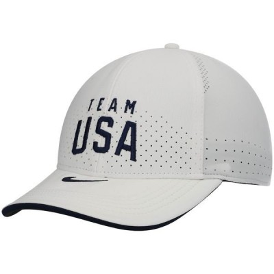 ナイキ メンズ 帽子 アクセサリー Team USA Nike Logo Sideline Legacy 91 Performance Adjustable Hat White