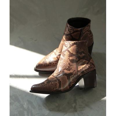 SESTO / ウッドチャンキーヒールのすっきりポインテッドトゥショートブーツ WOMEN シューズ > ブーツ