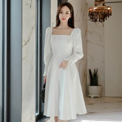 キャバ ドレス キャバドレス ミディアムドレス フレアスカート 華やか 胸元 純白 清楚風 ホワイト S M L XL