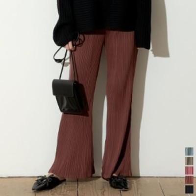 [低身長/高身長向けサイズ対応][お家で洗える]マットサテン細プリーツキックフレアパンツ