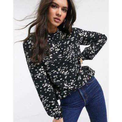 ウエアハウス レディース シャツ トップス Warehouse floral print high neck blouse in black