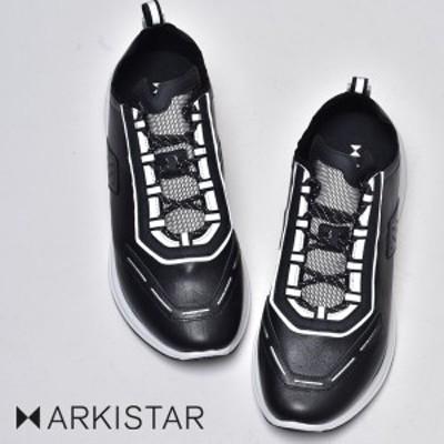 セール アーキスター スニーカー メンズ ブランド ARKISTAR 黒 白 ブラック ホワイト レザー 本革 革靴 皮靴 カジュアルシューズ レース