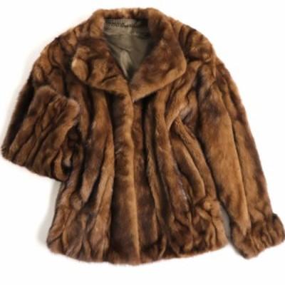 極美品▼MINK ミンク 本毛皮デザインジャケット/ショートコート ブラウン F 毛質艶やか・柔らか◎