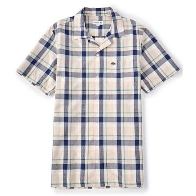 ラコステ メンズ シャツ トップス Madras Plaid Short-Sleeve Woven Camp Shirt Khaki