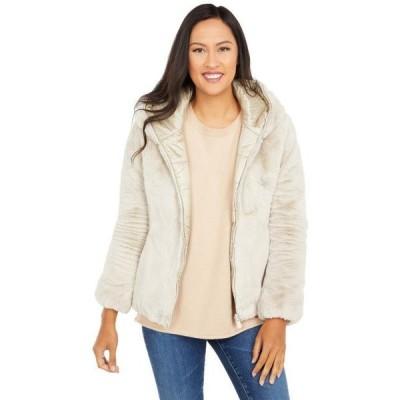 ユニセックス ジャケット コート Reversible Faux Fur Hooded Short Jacket