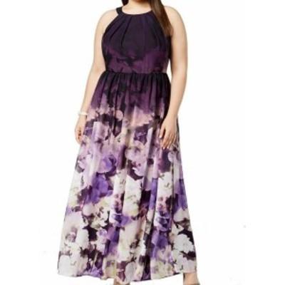 Betsy & Adam ベッツィアンドアダム ファッション ドレス Betsy & Adam NEW Purple Floral Print Womens Size 22W Plus Gown Dress