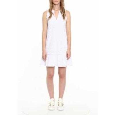 マイケルコース レディース ワンピース トップス Women's Sleeveless Eyelet Drop Waist Ruffle Neck Dress White