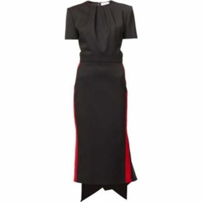 アレキサンダー マックイーン Alexander McQueen レディース ワンピース ワンピース・ドレス Side-stripe wool-crepe dress Black