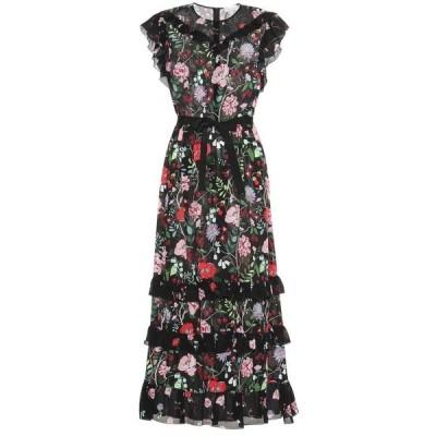 レッド ヴァレンティノ REDValentino レディース ワンピース マキシ丈 ワンピース・ドレス Floral silk maxi dress Nero