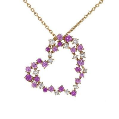 K18PG ピンクゴールド ファンシーサファイア 0.48ct ダイヤモンド 0.17ct ネックレス 6FSA4018770-KA 天然石