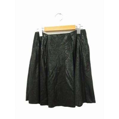 【中古】αA スカート フレア ギャザー ミニ ジップ レザー ヤギ 36 ブラック 黒 /KT48 レディース