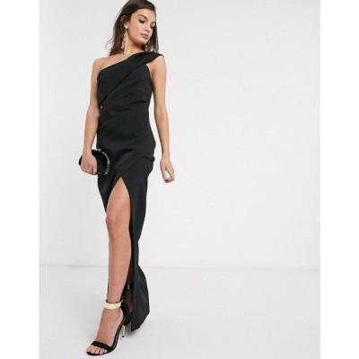 リバーアイランド River Island レディース ワンピース ワンピース・ドレス one shoulder midi dress in black ブラック