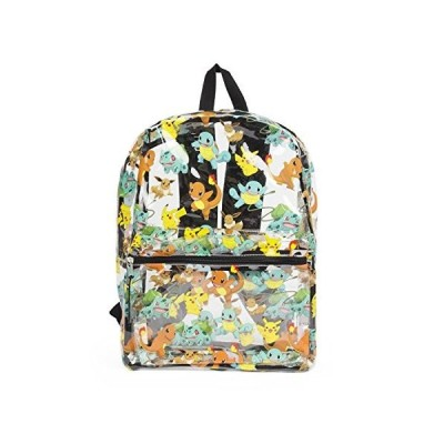Pokemon Allover Print Pikachu, Squirtle, Charmander Clear Backpack Bag