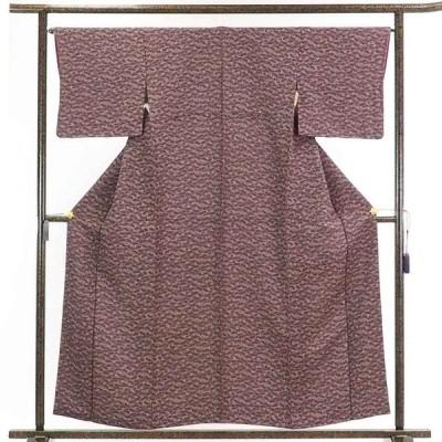 リサイクル着物 小紋 正絹茶紫地洗面柄袷小紋着物