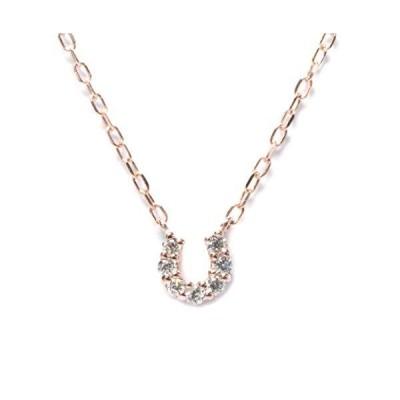 [リエ] Lier K10ピンクゴールド 馬蹄モチーフネックレス ダイヤモンド0.03ct dpn-50-f07