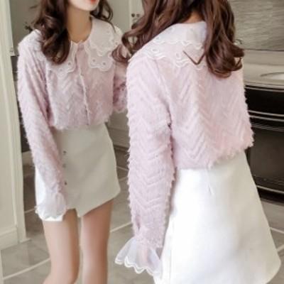 レディース 長袖 トップス 羽織り ネックフリル 袖フリル レースブラウス ピンク  白 可愛い フォーマル 韓国