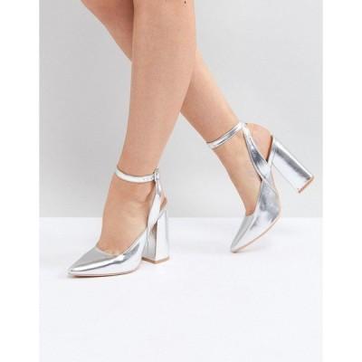 ロストインク レディース ヒール シューズ Lost Ink Silver Block Heeled Ankle Tie Shoes Silver