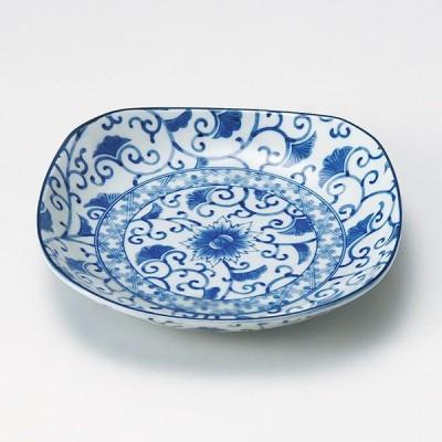 和食器 藍彩四角 丸皿 11.7×11.7×2.5cm プレート うつわ 陶器 おうち ごはん カフェ おしゃれ 軽井沢 春日井