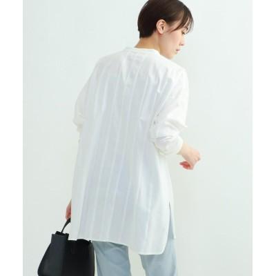 INDIVI V.A.I.(インディヴィ バイ) パウダーサテンタックシャツ
