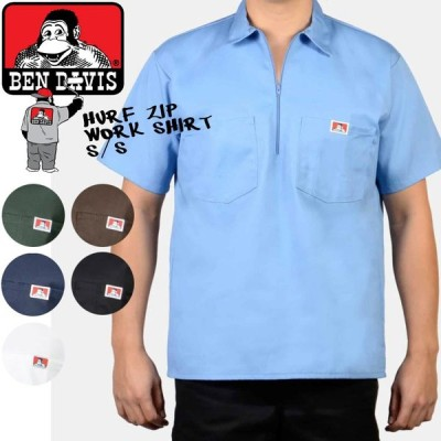 ベンデイビス ワークシャツ BEN DAVIS HALF ZIP WORK SHIRTS S/S(1/2ZIPPER) ポケットシャツ ハーフジップ USA MADE[ZRC]