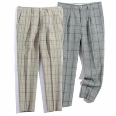 チェック柄 スラックス メンズ ビジネススラックス スリム   メンズ ズボン  スーツパンツ 細身 春秋  紳士用 通勤