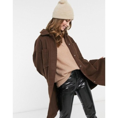 エイソス レディース コート アウター ASOS DESIGN longline twill shirt jacket in brown Brown