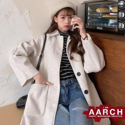 大きいサイズ レディース ファッション コート アウター ぽっちゃり おおきいサイズ あり ステンカラーコート メルトン調 ロング丈 L LL 3L 4L 5L 秋冬