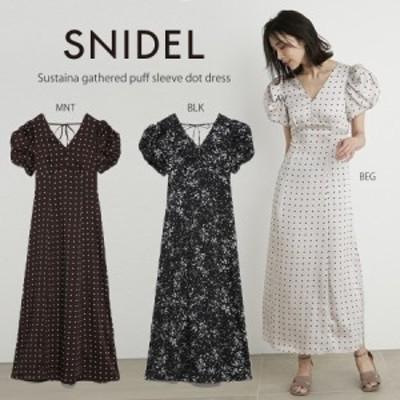 SNIDEL スナイデル ワンピース 販 Sustainaギャザーパフスリーブドットワンピース swfo212098 レディース ドレス 2021夏新作