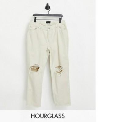 エイソス レディース デニムパンツ ボトムス ASOS DESIGN Hourglass mid rise '90s' straight leg jeans in putty with rips Putty