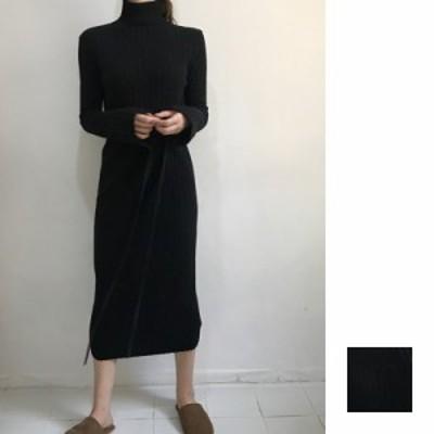 韓国 ファッション レディース ワンピース 秋 冬 カジュアル naloG552  リブニットワンピース タイト ベーシック シンプル コーデ 定番
