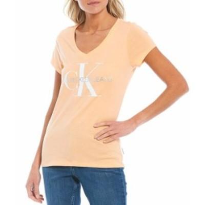 カルバンクライン レディース Tシャツ トップス Jeans V-Neck Short Sleeve Foil Logo Tee Melon