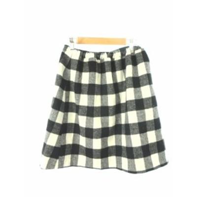 【中古】シンプリシテェ Simplicite スカート 台形 ひざ丈 ウール混 シルク混 チェック 白 ホワイト /YT2 レディース