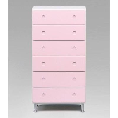 たんす チェスト 6段 幅60 スリム 北欧 おしゃれ かわいい ピンク 引き出し 引出 収納 ピュア60-6チェスト(ピンク)