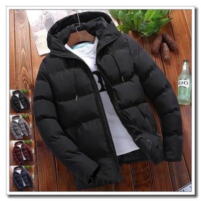 新品人気ダウンジャケット中綿メンズコートブルゾン厚手フード付き4色アウター防寒アウトドアm-010