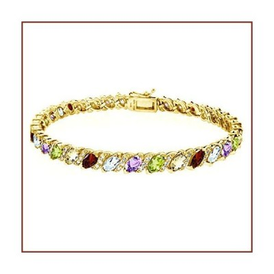 Gold Flashed Sterling Silver Multi Gemstone Marquise-cut Tennis Bracelet with White Topaz Accents【並行輸入品】