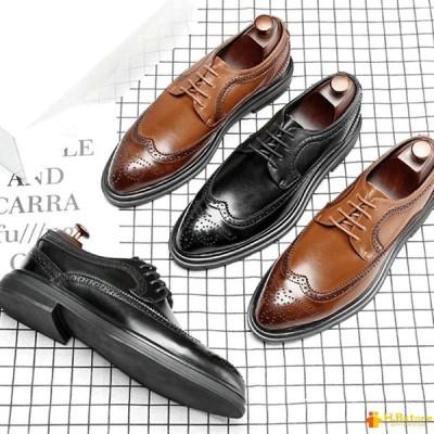 ビジネスシューズ 本革 メンズ ブラック/ブラウン 24cm-27cm ストーレットチップ レースアップ ブローグ オックスフォード 紳士靴
