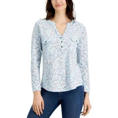 スタイル&コー Style & Co レディース トップス Petite Cotton Printed Top Crystalline Blue