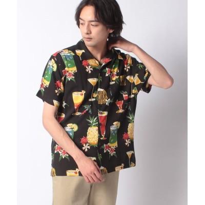 【メラン クルージュ】 リゾート柄半袖オープンシャツ メンズ ブラック M Melan Cleuge
