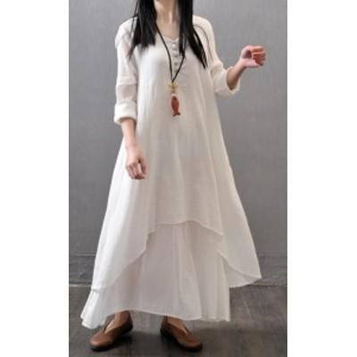ビック 大きいサイズ リネン 長袖 ロング ドレス ワンピース #0637
