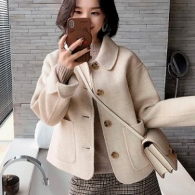 コート アウター 衿つき フロントボタン ショート丈 コート ナチュラル 大人 ジャケット かわいい 小柄 小さいサイズ 小さい 服