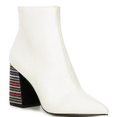ベッツィジョンソン レディース ブーツ&レインブーツ シューズ Kassie Rhinestone Embellished Heel Booties White