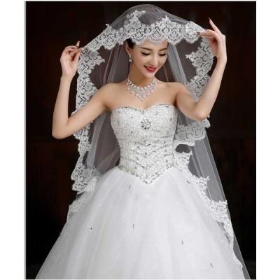 2枚送料無料トレーンウエディングドレス お洒落 ドレス花嫁ブライド ドレス  【結婚式】【披露宴】【パーティー】 エンパイアドレス フリル ドレス