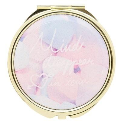 手鏡 コンパクトミラー メッセージロゴ GMR0056-BL ブルー 雑貨 かわいい 人気 おしゃれ