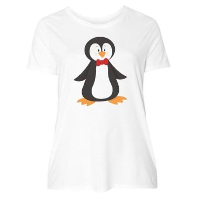 レディース 衣類 トップス Cute Penguin Penguin With Red Bow Tie Women's Plus Size T-Shirt Tシャツ