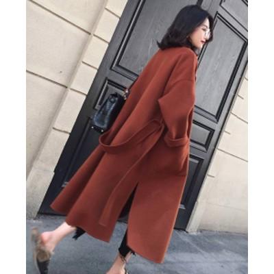 韓国 ファッション レディース コート チェスターコート 超ロング ウール 極暖 しっかり生地 ゆったり 大人可愛い 無地 シンプル オーバ