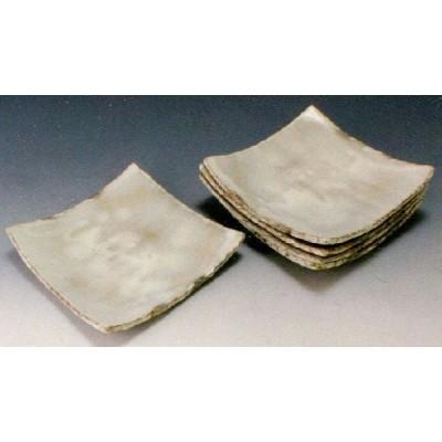 新品 京焼 清水焼 【粉引】 こびき 五寸角皿揃 5枚セット 和食器 陶器 陶磁器
