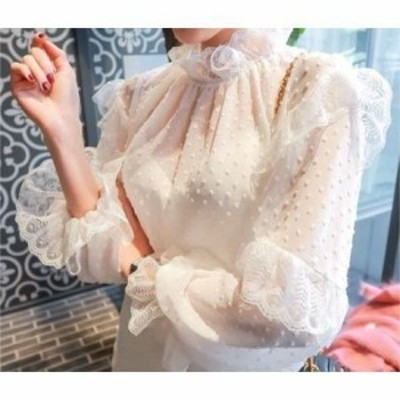 韓国 ファッション ドット柄 フリル襟 シフォン シースルー ブラウス